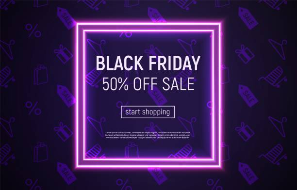 Black Friday sale banner with neon square frame on violet Vector illustration with neon square frame on violet background. Black Friday sale banner. black friday sale neon stock illustrations