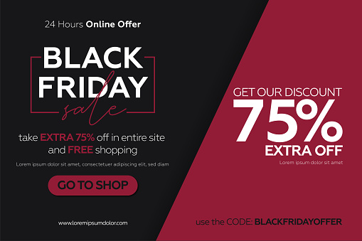Black friday sale banner with red and black glued paper background.