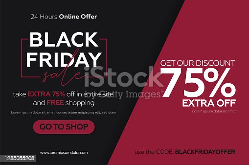 istock Black friday sale banner with red and black glued paper background. 1285055208