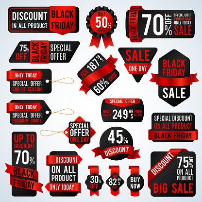 Black friday sale banners and price tag labels, selling card and discount stickers vector set