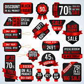 Black friday sale banners and price tag labels, selling card and discount stickers vector set. Discount and offer sticker for shop promotion illustration