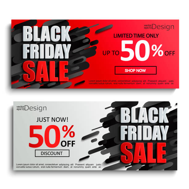 ilustrações, clipart, desenhos animados e ícones de 2 banners de venda sexta-feira preta sobre fundo dinâmico - black friday
