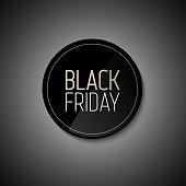 Black Friday sale black tag, round banner, advertising, vector illustration