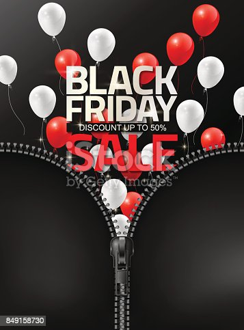 istock Black Friday sale by dragging zipper design template, Vector illustration 849158730