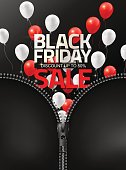 Black Friday sale with red white balloons are opened by dragging zipper for design template banner flyer, Vector illustration