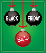 """Vector illustration of three hanging christmas ornaments with """"BLACK FRIDAY SALE"""" type on them."""