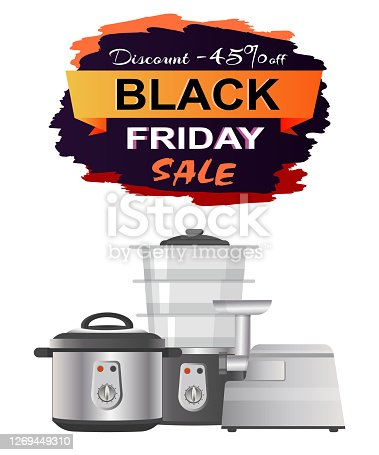 Black Friday sale clearance on white background. Vector illustration with discount promotion on meat grinder, multivariate and streamer promo poster
