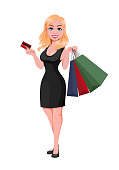 Black Friday sale concept. Beautiful woman cartoon character with shopping bags and credit card. Vector illustration on white background