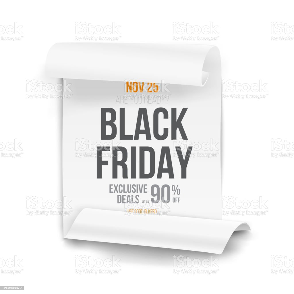 black friday sale curved ribbon banner template realistic folde, Powerpoint templates