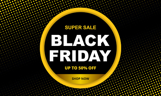 Black friday sale dark abstract background. Vector banner with circle and halftone effect.