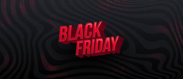 ilustrações, clipart, desenhos animados e ícones de projeto de venda da black friday. letras vermelhas 3d em um fundo listrado abstrato preto. ilustração vetorial. - black friday