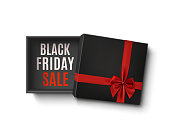 Black Friday sale design. Opened black empty gift box with red ribbon and bow isolated on white background. Template for your presentation design, banner, brochure or poster. Vector illustration.