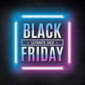 Black friday sale design template. Black friday light frame