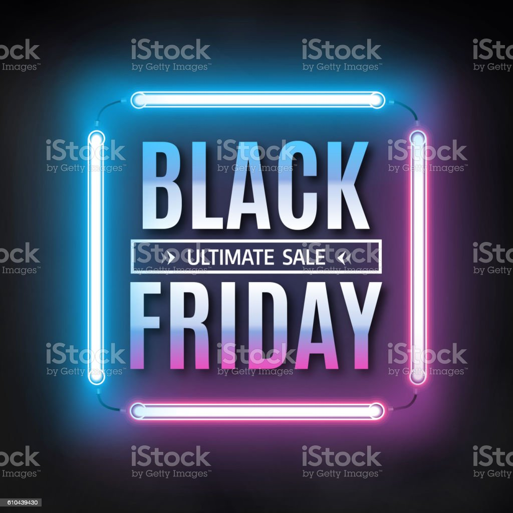 Black friday sale design template. Black friday light frame vector art illustration