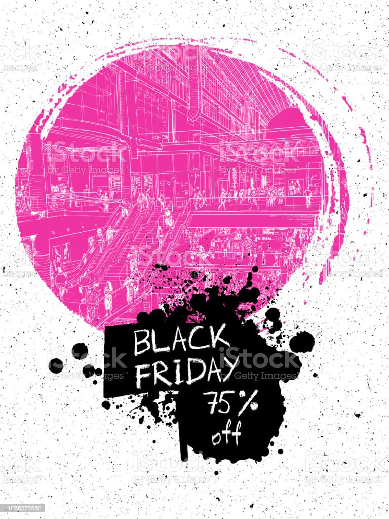 fda7fa4ed Black Friday sale discount banner. Hand drawing of people shopping in the  large mall or giant store. Flyer with paint splashes and ink stain.