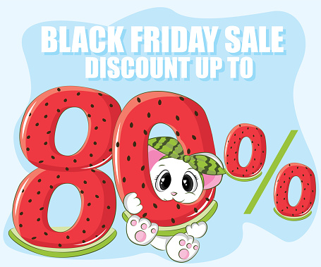 Black friday sale discount up to 80% off. mouse with 80% watermelon.