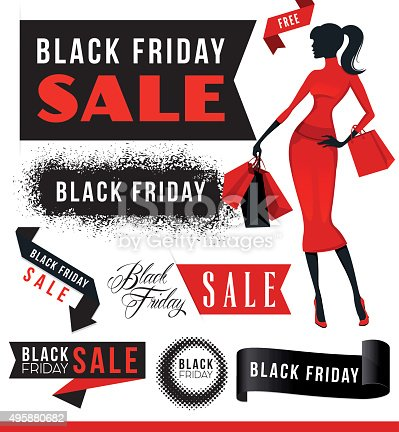 istock Black Friday Sale Elements with Woman 495880682