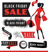 Vector illustration of the Black Friday Sale elements with woman