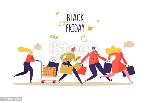 istock Black Friday Sale Event. Flat People Characters with Shopping Bags. Big Discount, Promo Concept, Advertising Poster, Banner. Vector illustration 1025943654