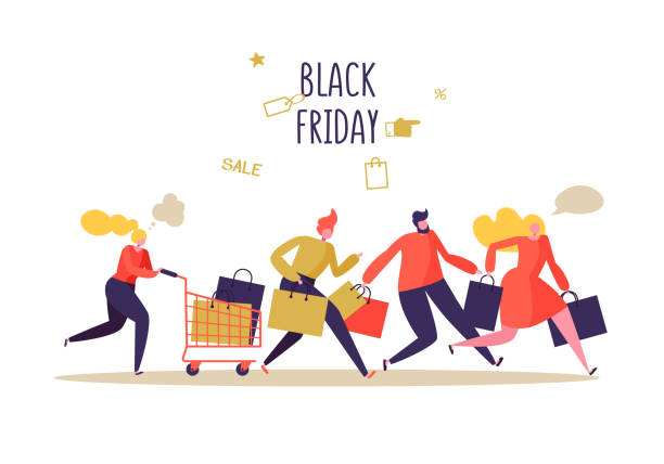illustrazioni stock, clip art, cartoni animati e icone di tendenza di black friday sale event. flat people characters with shopping bags. big discount, promo concept, advertising poster, banner. vector illustration - acquisti