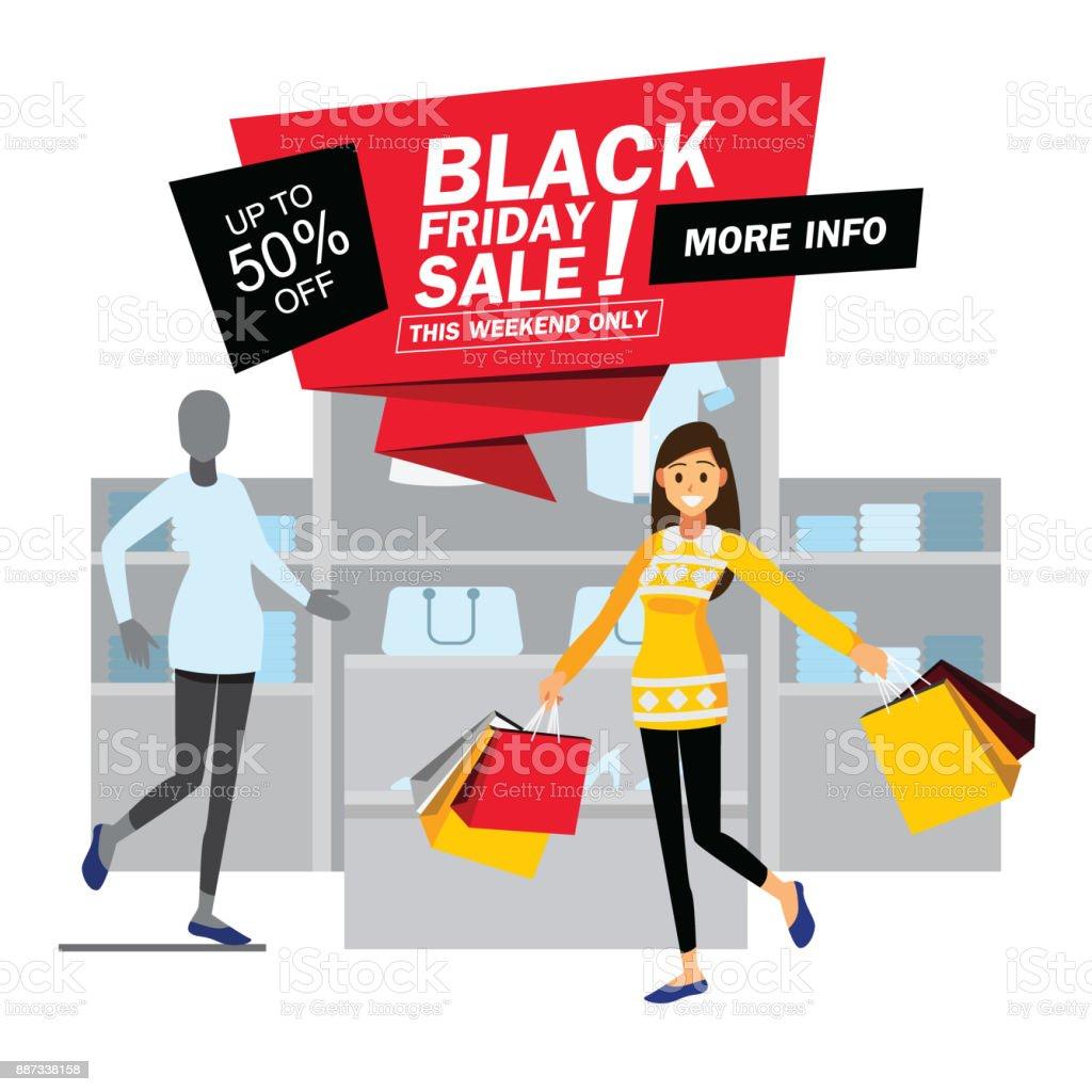 black friday sale fashion clothing store shopping girl happy cartoon