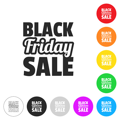 Black Friday Sale. Flat icons on buttons in different colors