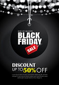 Black friday sale flyer template. Dark background with tag hanging. Use for poster, newsletter, shopping, promotion, advertising.