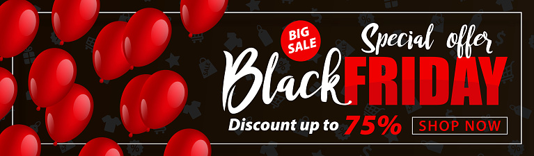 Black Friday Sale Flyer with Balloons - vector Illustration