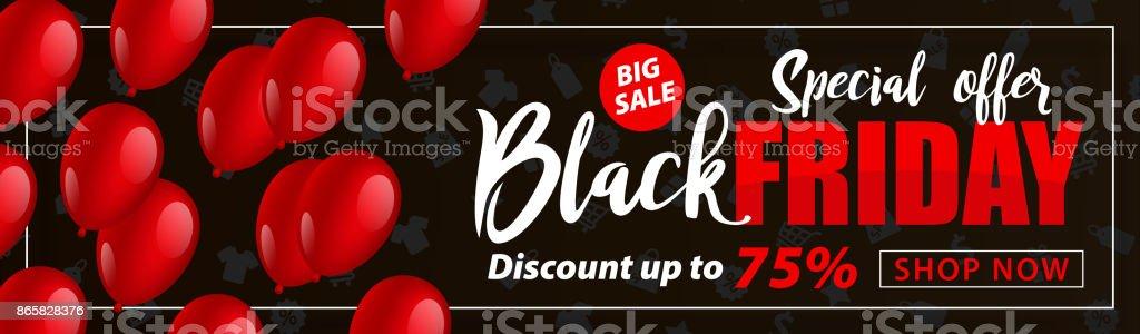 Black Friday Sale Flyer with Balloons - vector Illustration vector art illustration