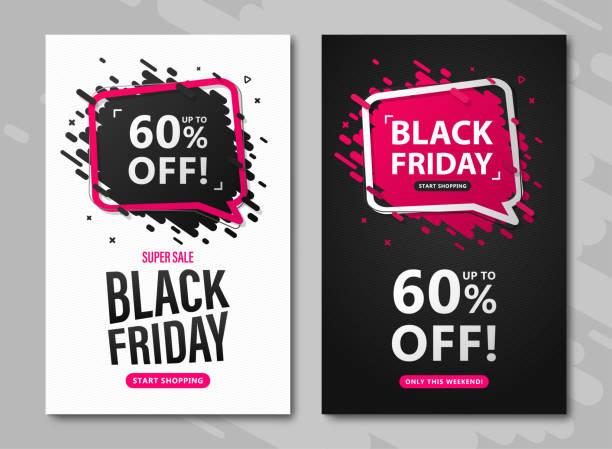 블랙 프라이데이 세일 전단지. 연설 거품과 문자로 od 할인 포스터를 설정 60% 광고 쇼핑, 전단지, 추수 감사절과 사이버 월요일에 닫기 - black friday stock illustrations