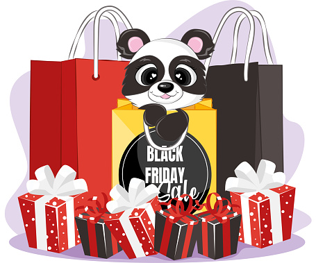 Black friday sale gift banner with black panda and shopping bag