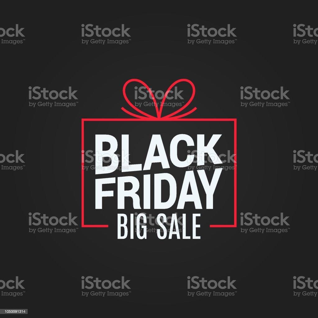 black friday sale gift box on black background - Grafika wektorowa royalty-free (Abstrakcja)
