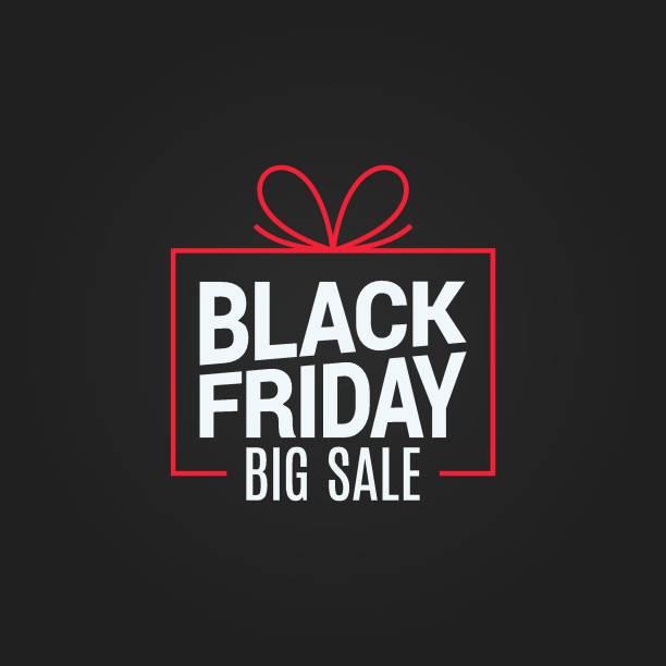 czarny piątek wyprzedaż pudełko na czarnym tle - gift stock illustrations