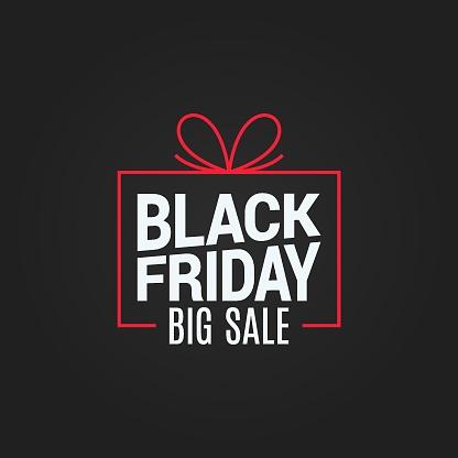 Black Friday Sale Gift Box On Black Background - Stockowe grafiki wektorowe i więcej obrazów Abstrakcja