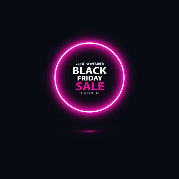 Black friday sale glowing neon sign on the black background. Light vector background for your advertise, discounts and business Black friday sale glowing neon sign on the black background. Light vector background for your advertise, discounts and business. black friday sale neon stock illustrations