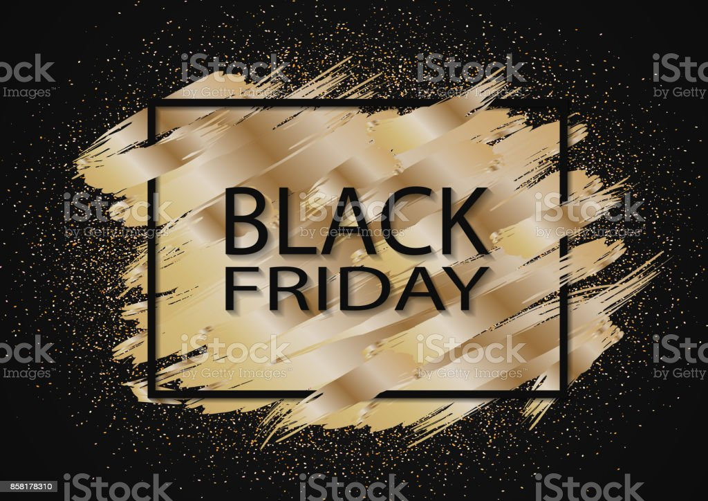 Fond de paillettes d'or pour le vente vendredi noir. Noël et nouvel an shopping. - Illustration vectorielle