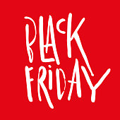 Black Friday Sale handmade lettering, calligraphy on red background for symbol or banners.