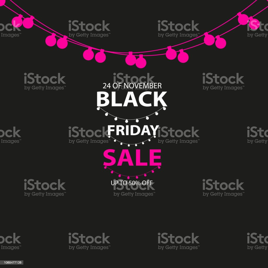 3a42d485dd Black Friday Sale Handmade With Garland And Dark Background For Logo ...