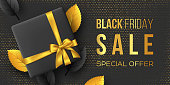 Black Friday sale poster or banner. Luxury design with leaves, box and realistic golden silk bow on dotted background. Concept for seasonal discounts. Vector illustration.