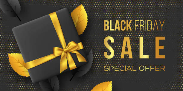 Black Friday sale horizontal poster or banner. Black Friday sale poster or banner. Luxury design with leaves, box and realistic golden silk bow on dotted background. Concept for seasonal discounts. Vector illustration. black friday sale background stock illustrations
