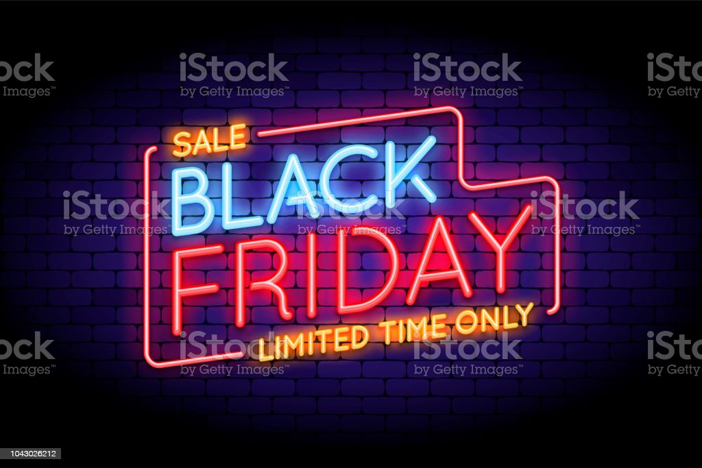 Black Friday Sale illustration in neon style. - Royalty-free Abstrato arte vetorial