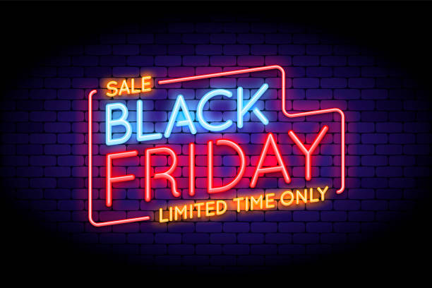 Black Friday Sale illustration in neon style. Black Friday Sale illustration in neon style. Luminous neon words on the wall. Vector illustration for web or print adverts for black friday sales. black friday sale stock illustrations