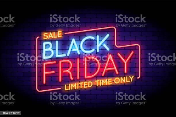 Black Friday Sale Illustration In Neon Style - Arte vetorial de stock e mais imagens de Abstrato