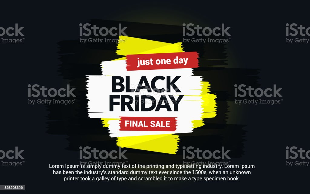Black Friday sale inscription. Abstract ink blots on a black background. Brush strokes. vector art illustration