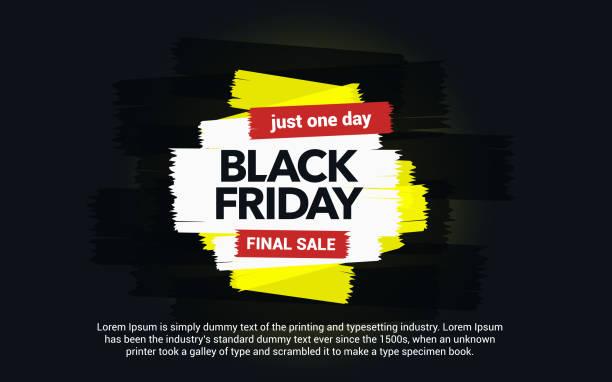 Black Friday sale inscription. Abstract ink blots on a black background. Brush strokes. vector art illustration