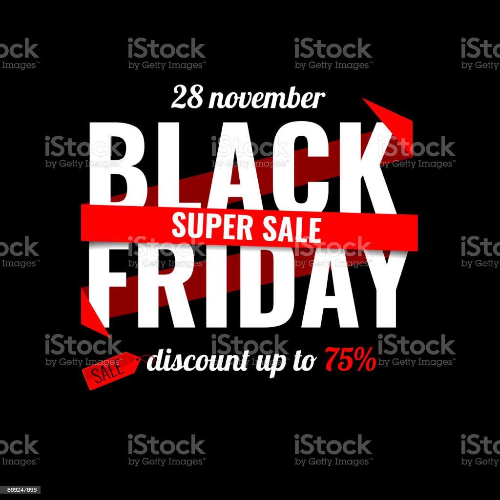 Black Friday sale inscription design template. Black Friday banner. Vector illustration - Royalty-free Aberto arte vetorial