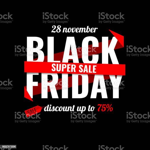 Black Friday Sale Inscription Design Template Black Friday Banner Vector Illustration - Arte vetorial de stock e mais imagens de Aberto