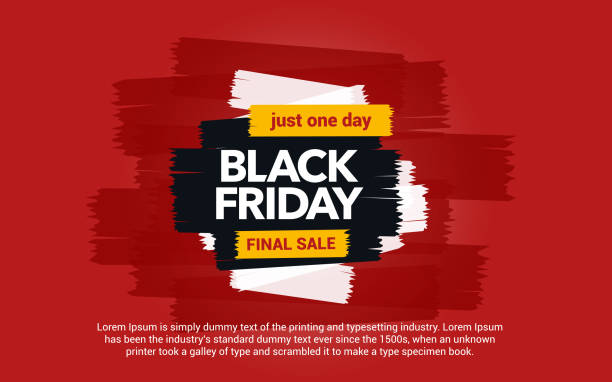 Black Friday sale inscription. Great discounts. Abstract ink blots on a red background. vector art illustration