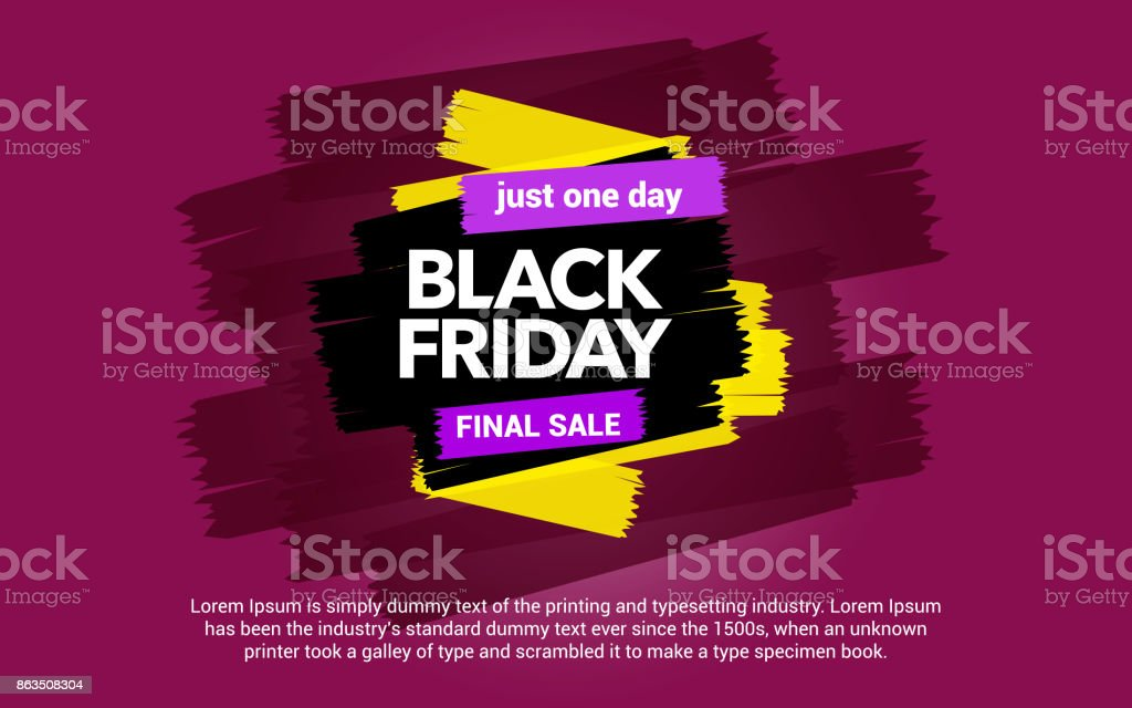 Black Friday sale inscription. Sale and discount. Abstract ink blots on a pink background. vector art illustration