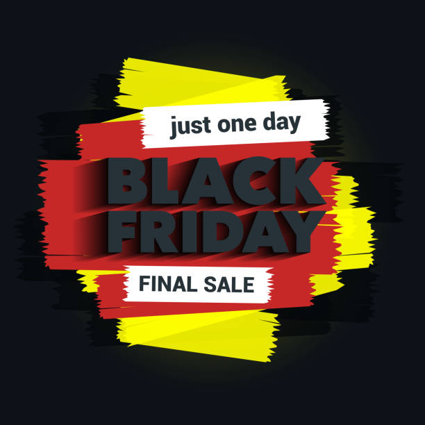 Black Friday sale inscription. The inscription with a long shadow. Brush strokes. Great discounts. vector art illustration